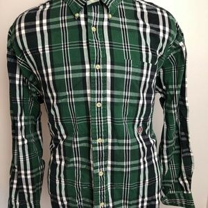 Tommy Hilfiger Mens Green Plaid Long Sleeve Button